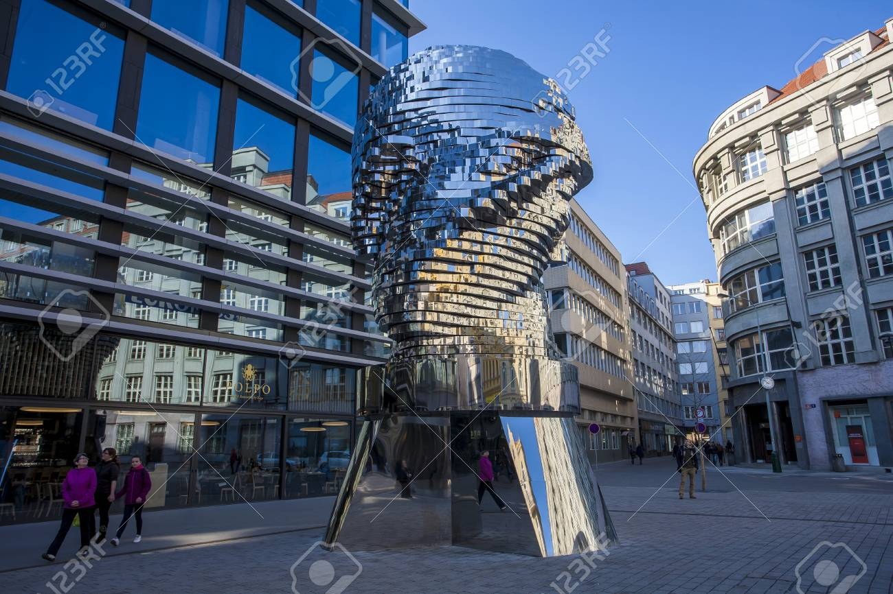 Statue of Franz Kafka, the latest work by artist David ern is located at yard of the shopping center Quadrio metro Nrodn tda. Prague, Czech Republic - 55837186