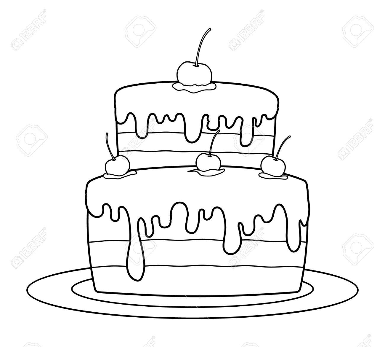 Gâteau Danniversaire Décrites Pour Livre De Coloriage Vecteur Clip