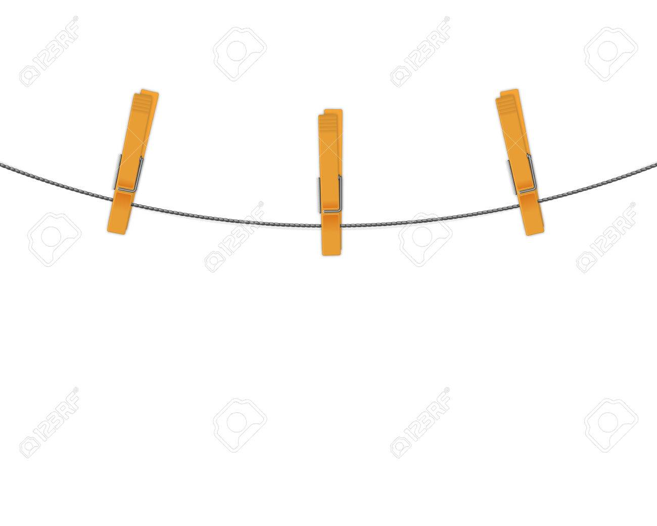 clothespins on rope background - 56639484