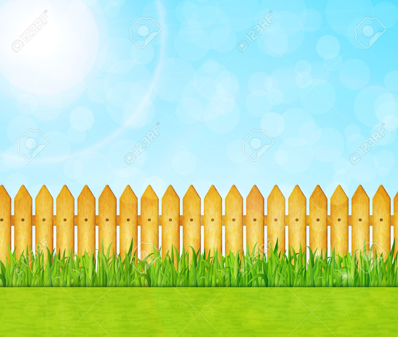 Garden background with green grass and wooden fence vector