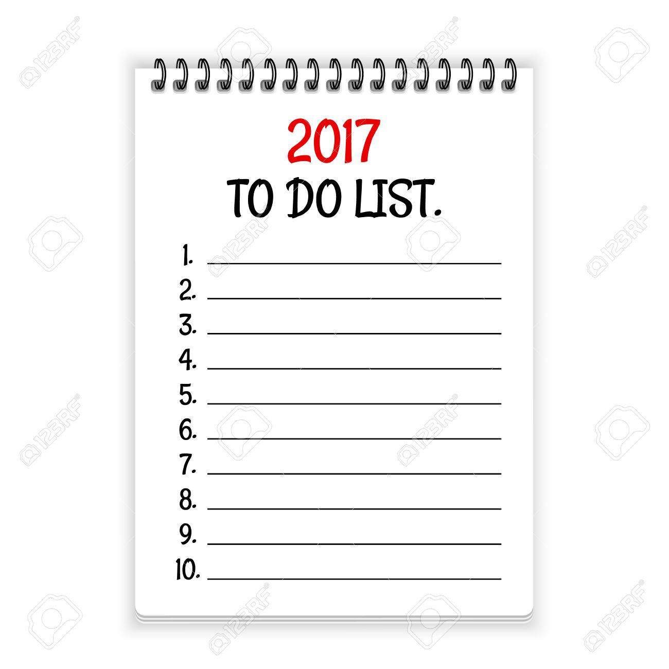 2017 to do list. open spiral notebook paper background royalty free