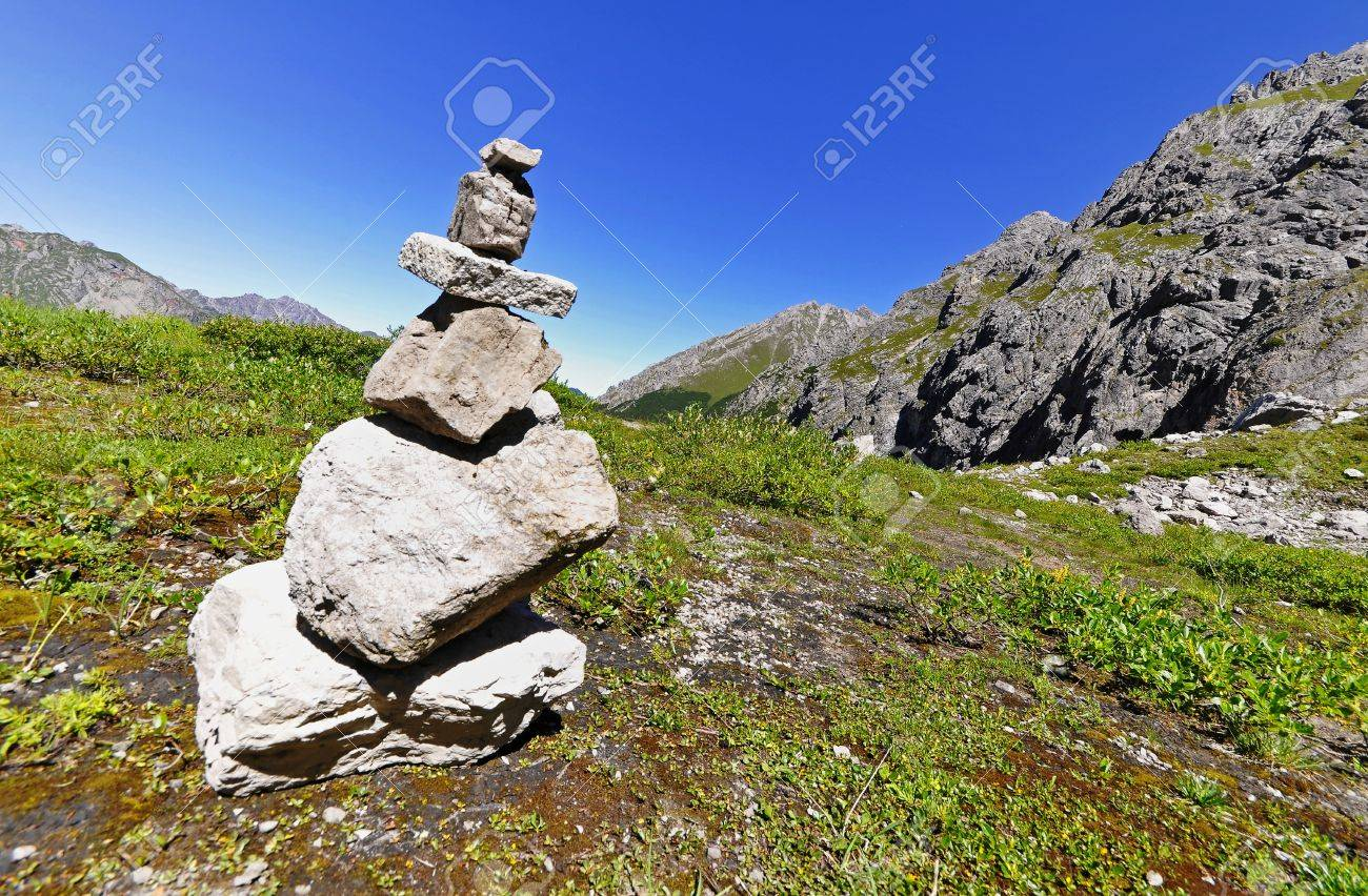 Stone man in the Alps Stock Photo - 16937289