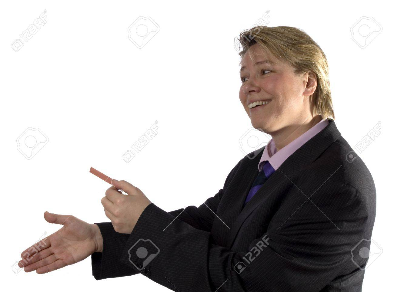Businesswoman giving a blank business card and wants to shake hands. Stock Photo - 413453