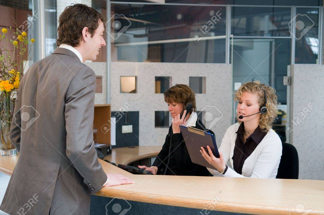 reception or front desk in an officebuilding stock photo picture reception or front desk in an officebuilding stock photo 4718424