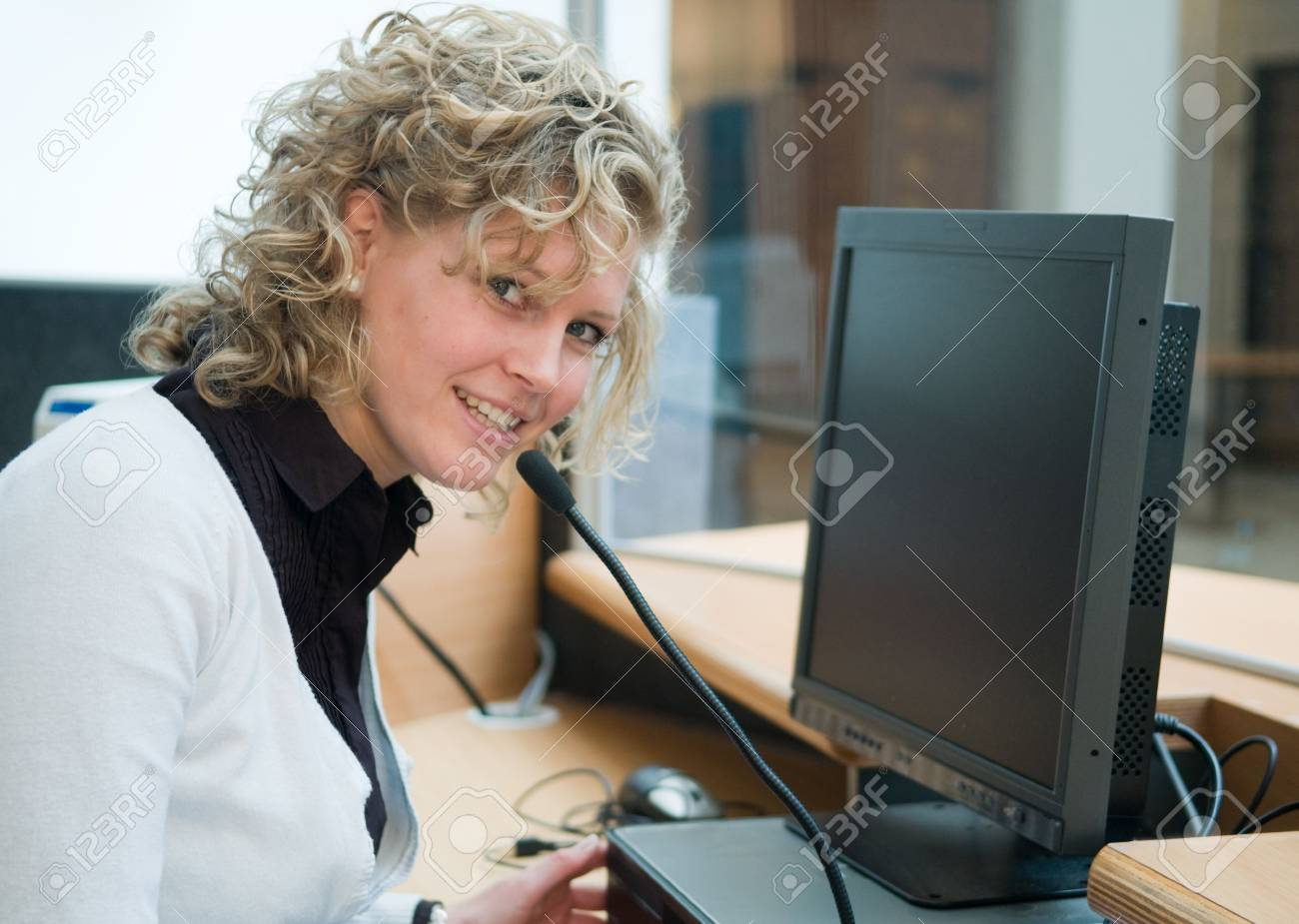 Frontdesk worker in an office Stock Photo - 4834469