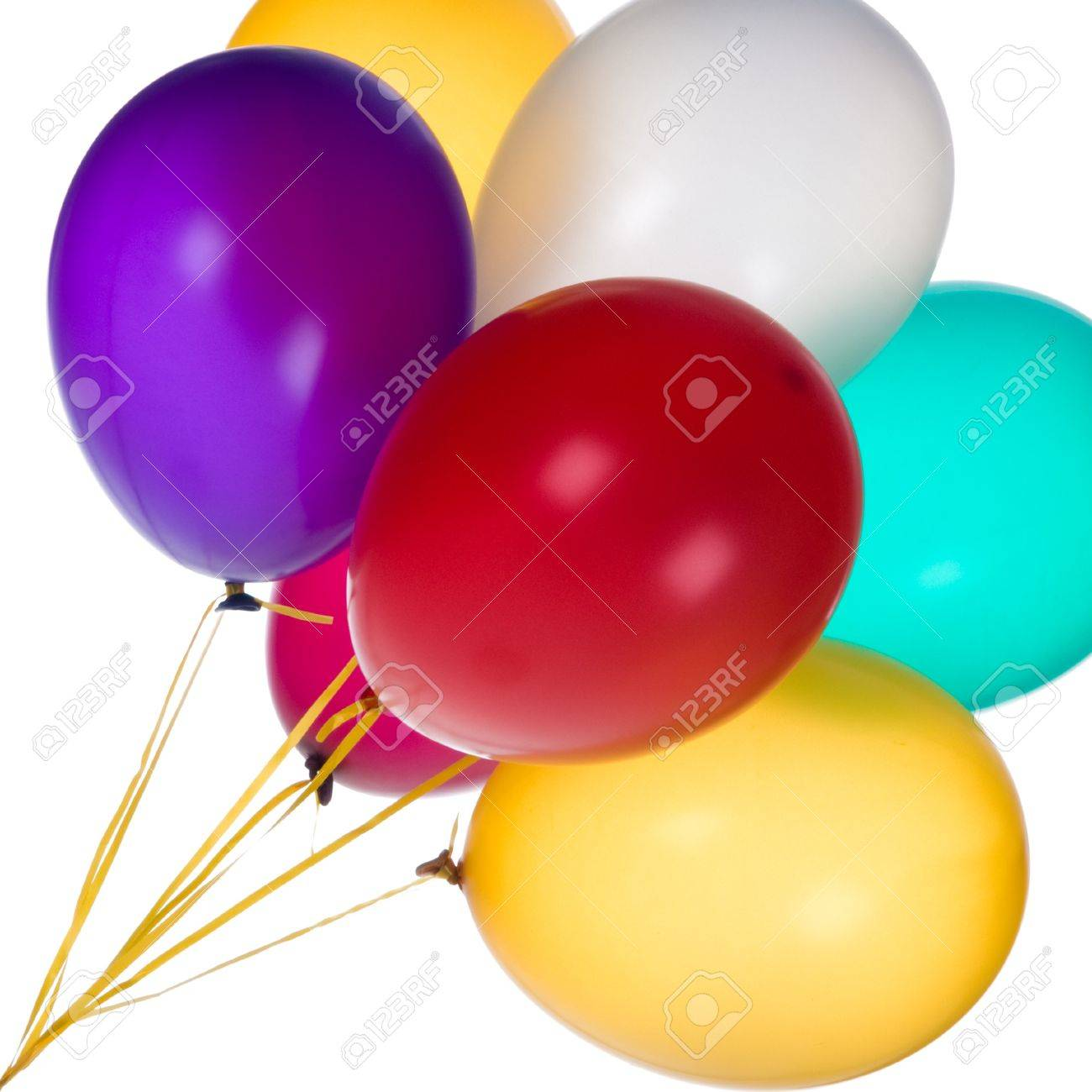 Bunch of colorful balloons against a white background. Stock Photo - 7621222