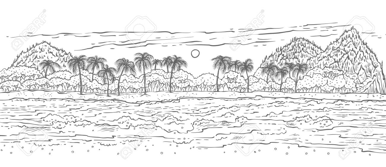 Sandy tropical island with sea waves surf and palm trees  Black