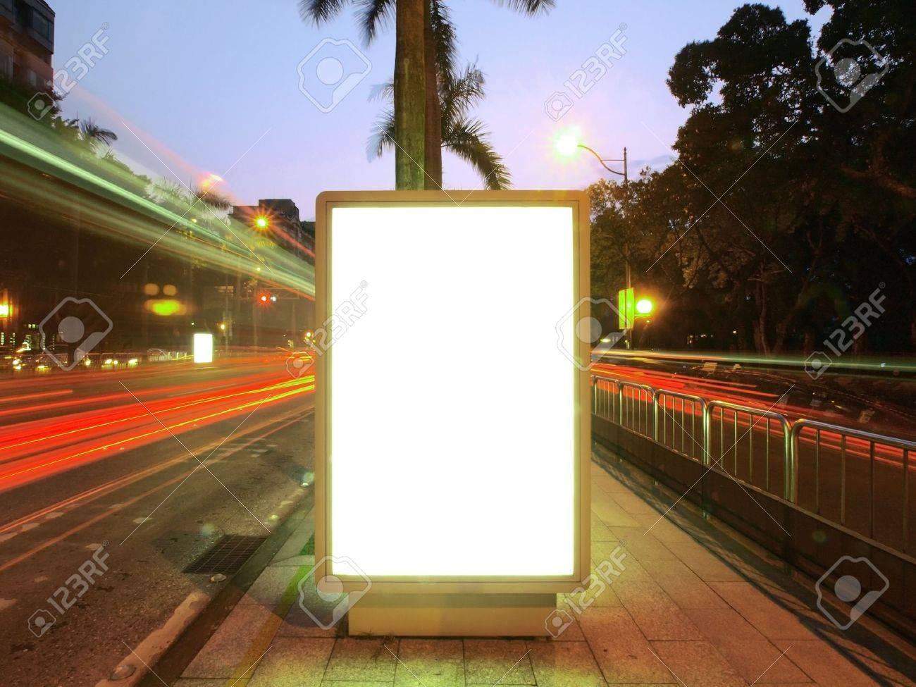 Blank billboard on sidewalk Stock Photo - 9657617