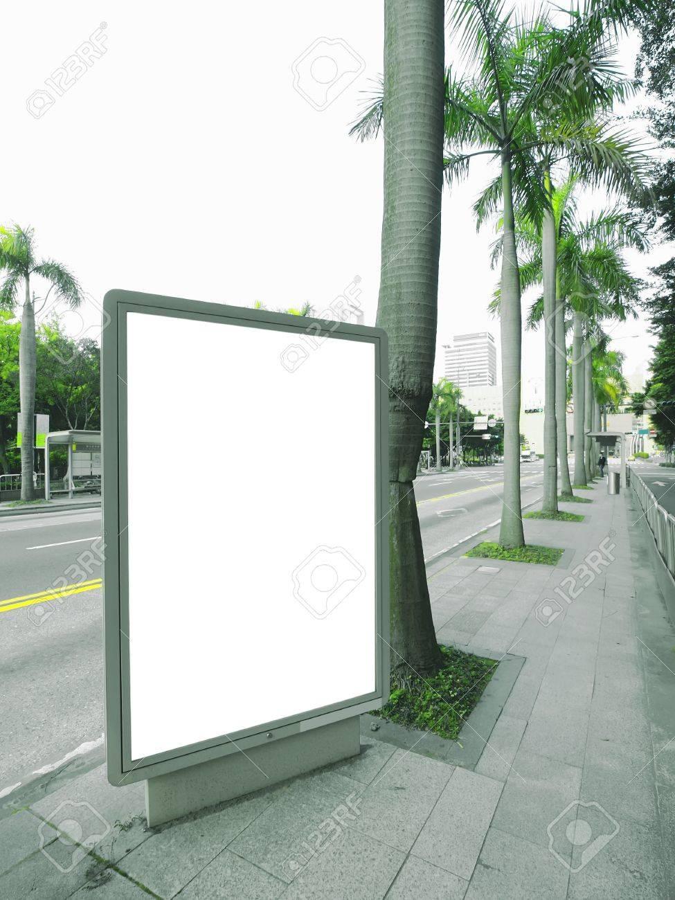 Blank billboard on sidewalk Stock Photo - 9723120
