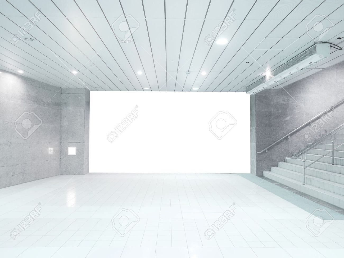 Superb White Floor: Blank Wall And Staircase Stock Photo