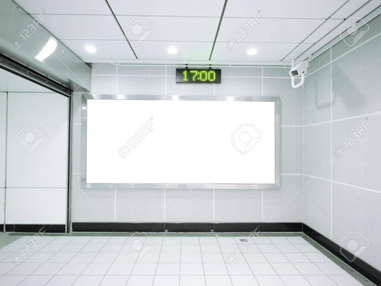 Three blank billboard in underground - 12428101