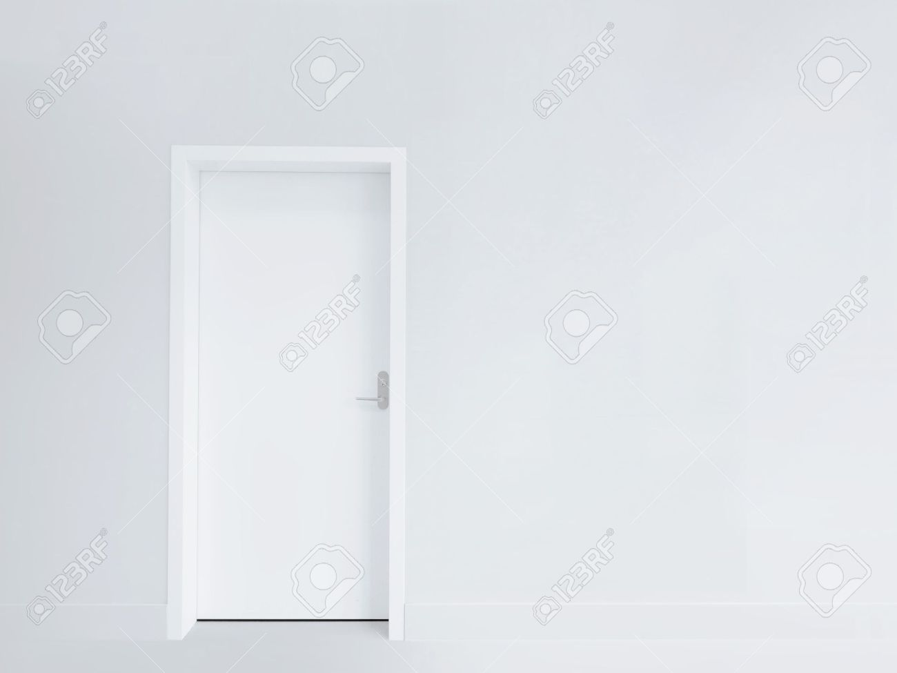 White door and blank wall Stock Photo - 12777156 & White Door And Blank Wall Stock Photo Picture And Royalty Free ... Pezcame.Com