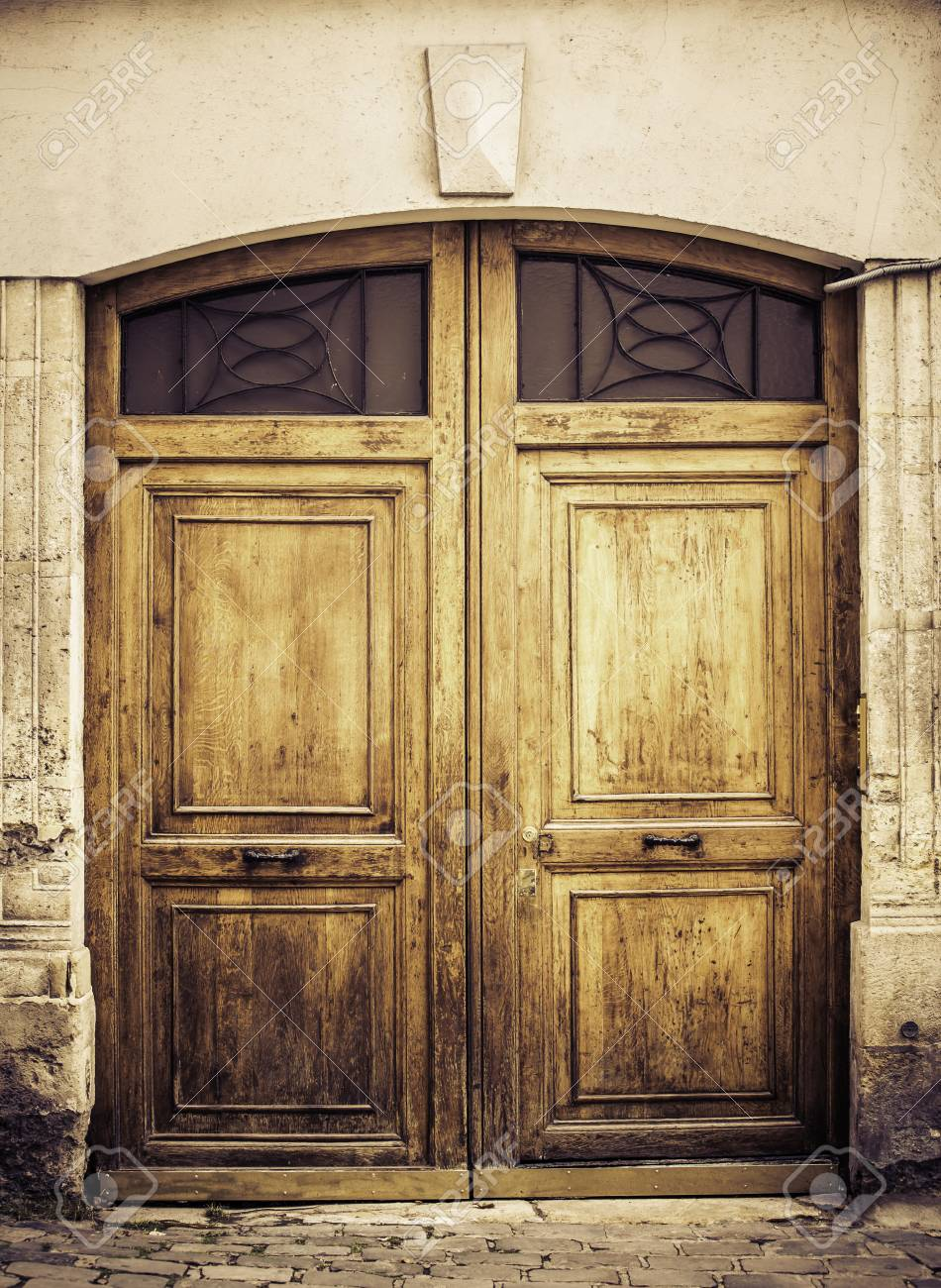 Old Wooden Arch Entry Door Paris France Stock Photo Picture And