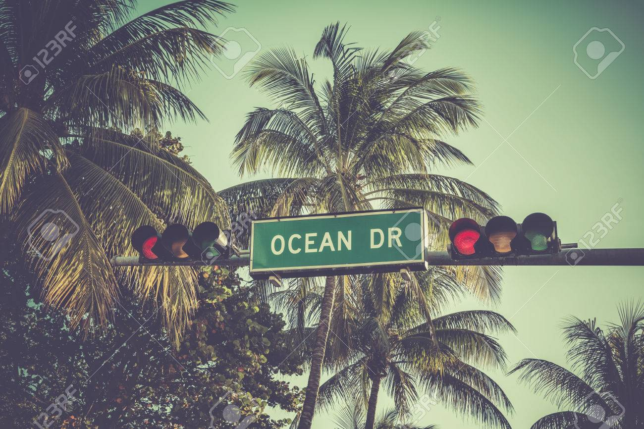 Ocean Drive Sign With Palm Trees In Miami Beach, Florida. Vintage ...