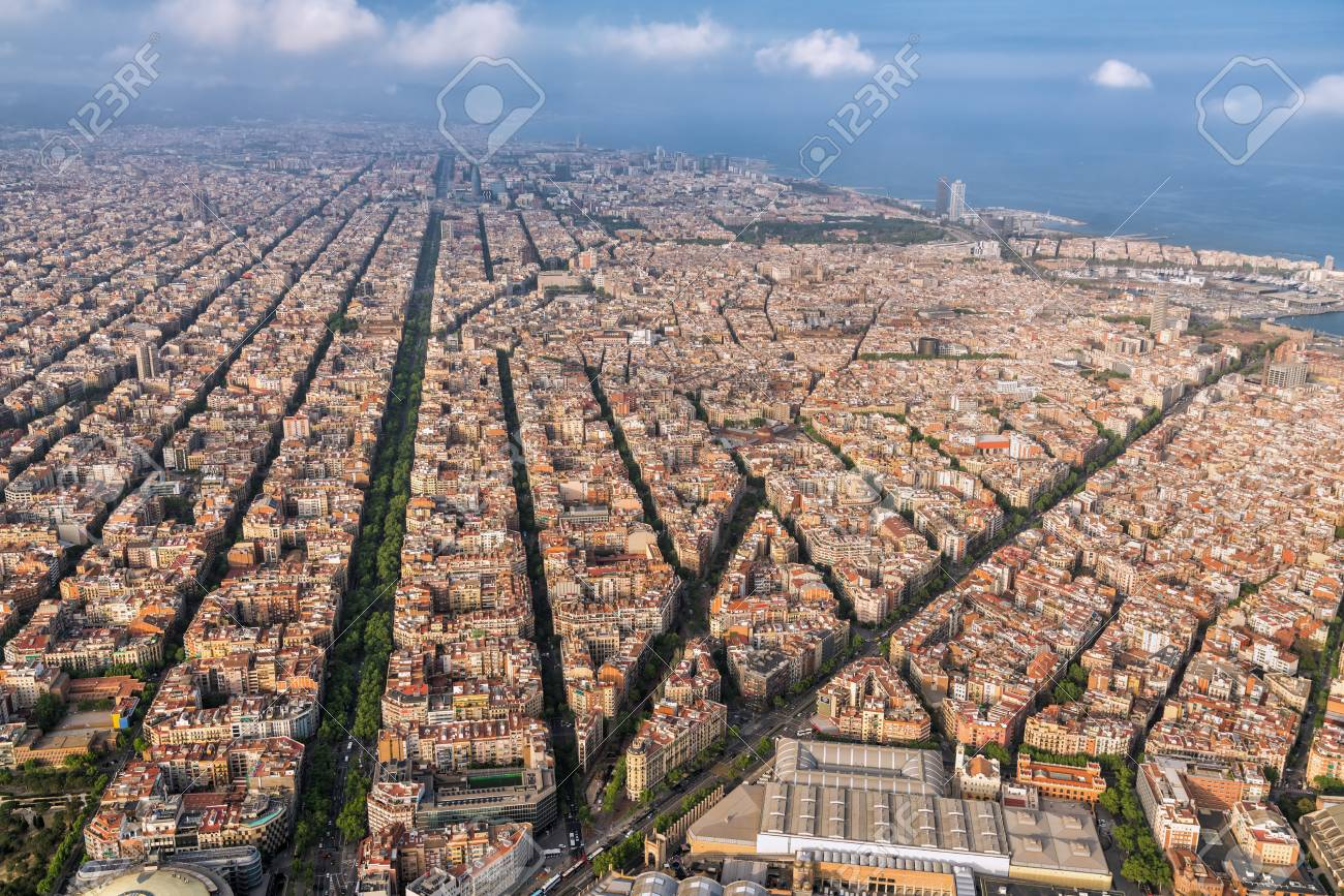 Aerial View Of Barcelona Main Street And City Skyline Spain Stock