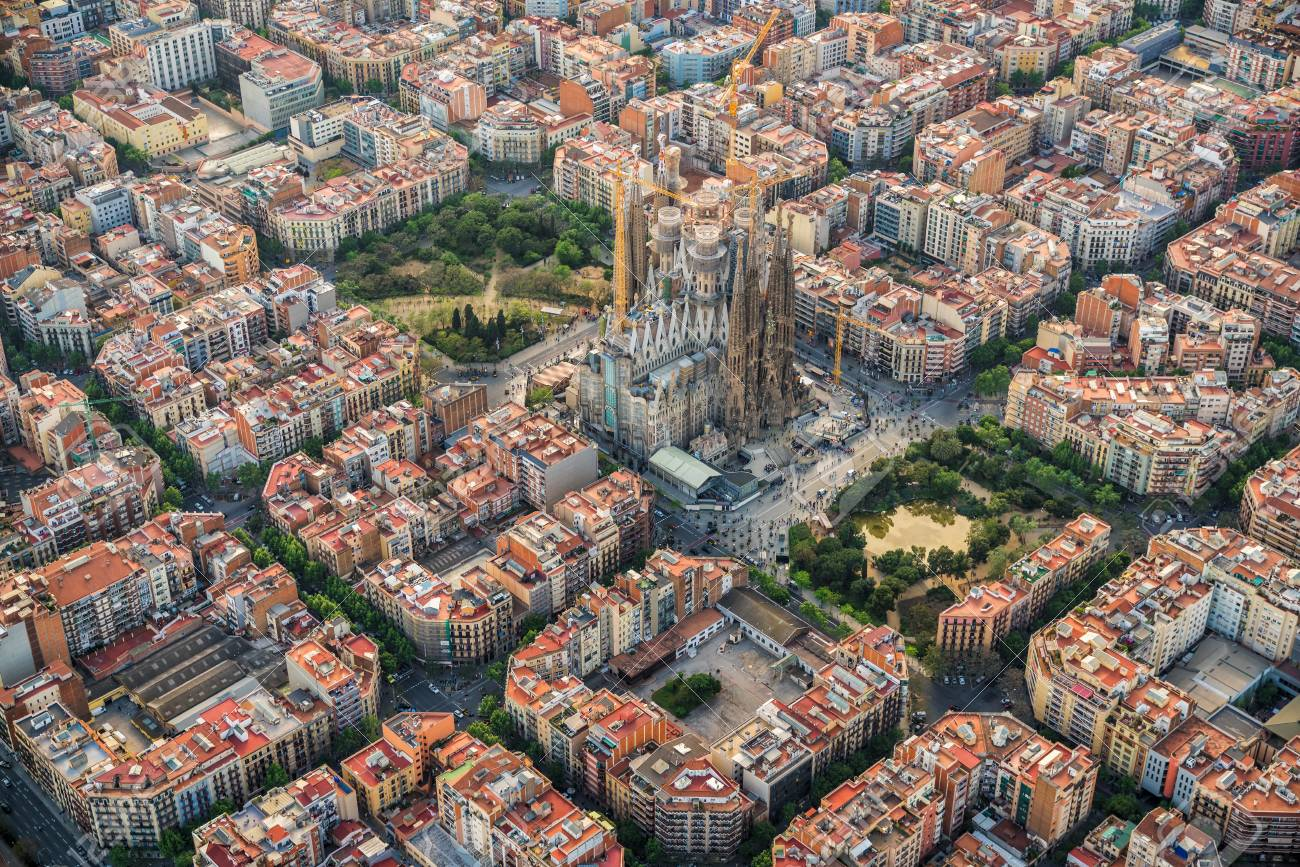 Barcelona Aerial View Eixample Residencial District Spain Stock