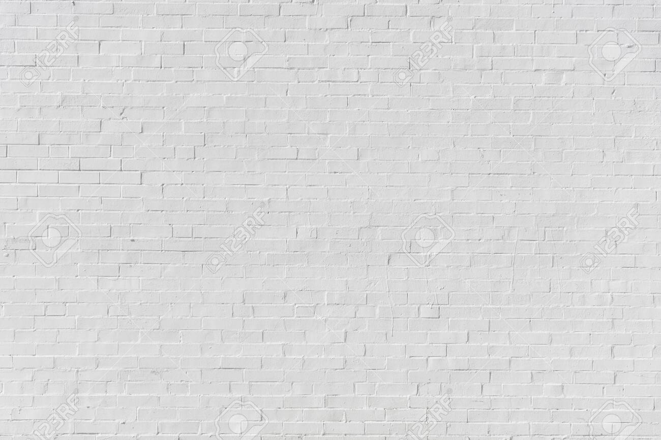 White painted brick wall for texture or background - 145287855