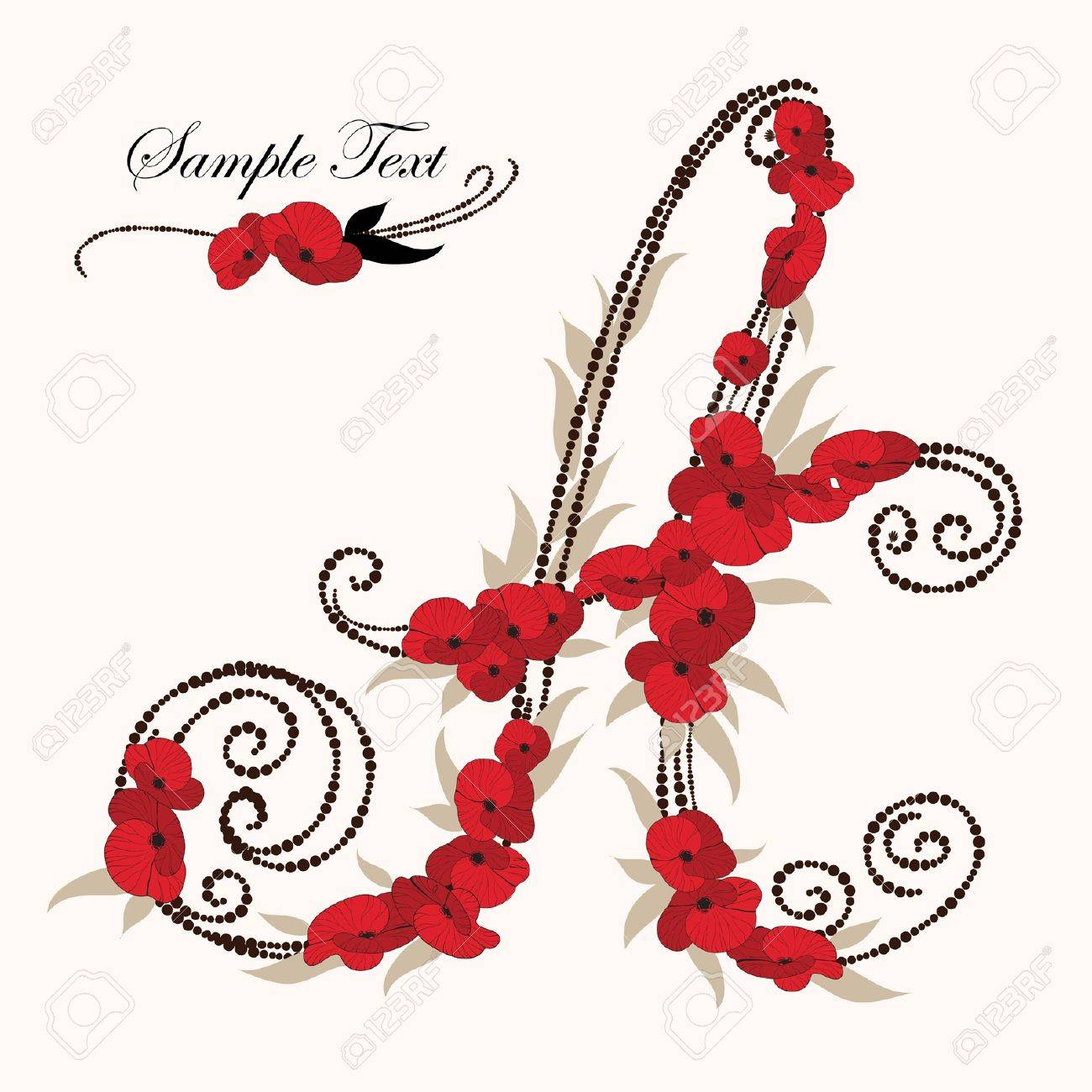 A, hand drawn flower alphabet Stock Vector - 15757824