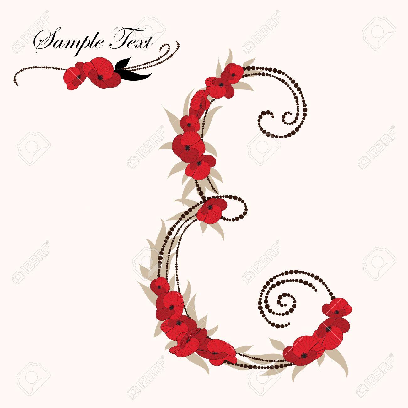 E, hand drawn flower alphabet Stock Vector - 15757801