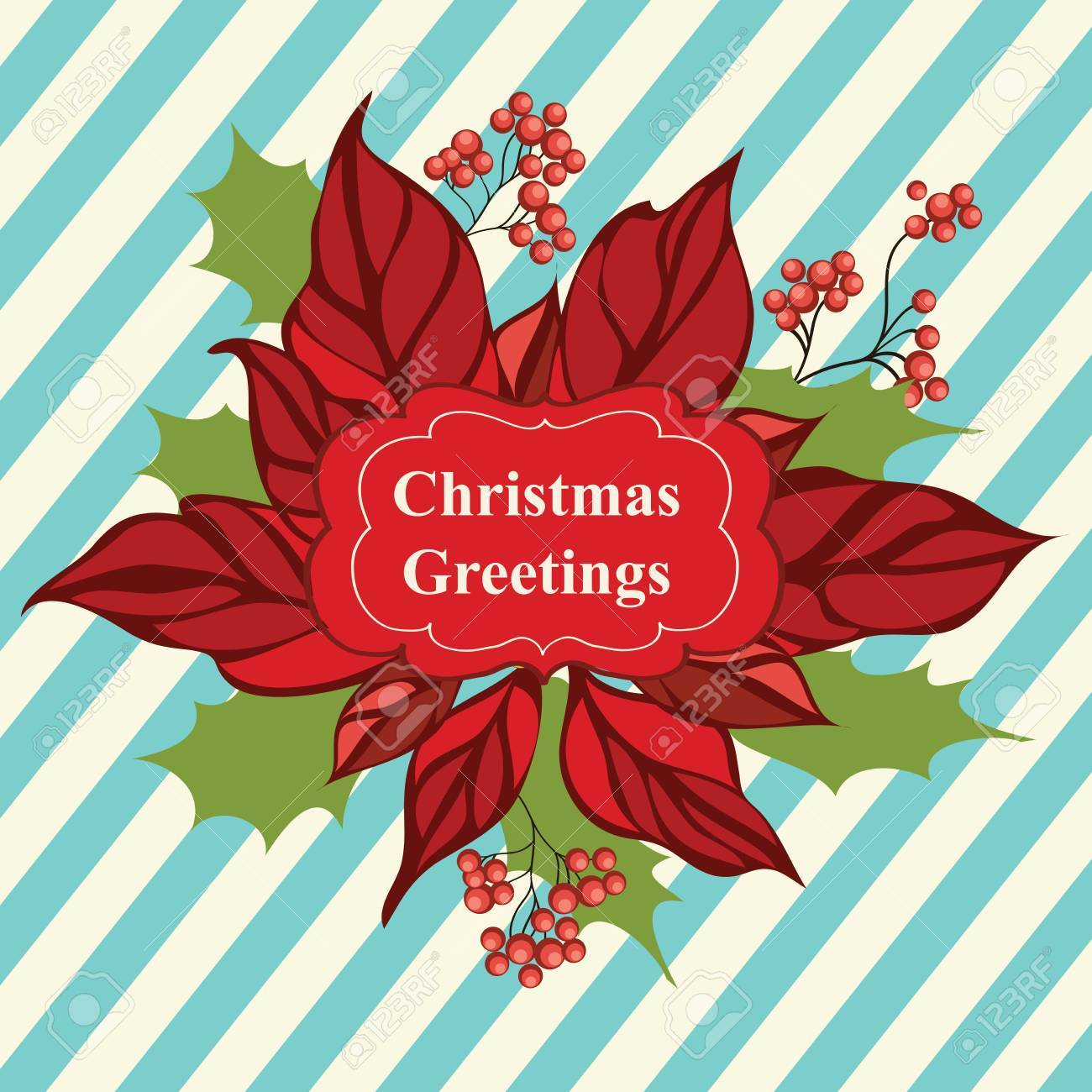 Retro Christmas greeting card with flower Stock Vector - 16855370