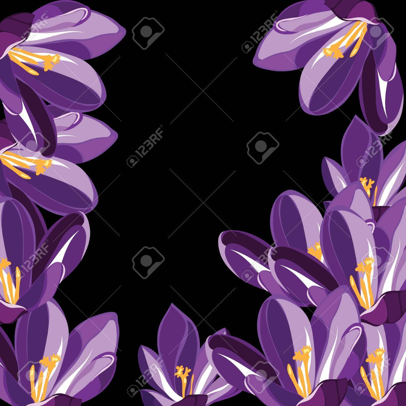 Floral pattern with crocus,  illustration. Stock Vector - 18528098