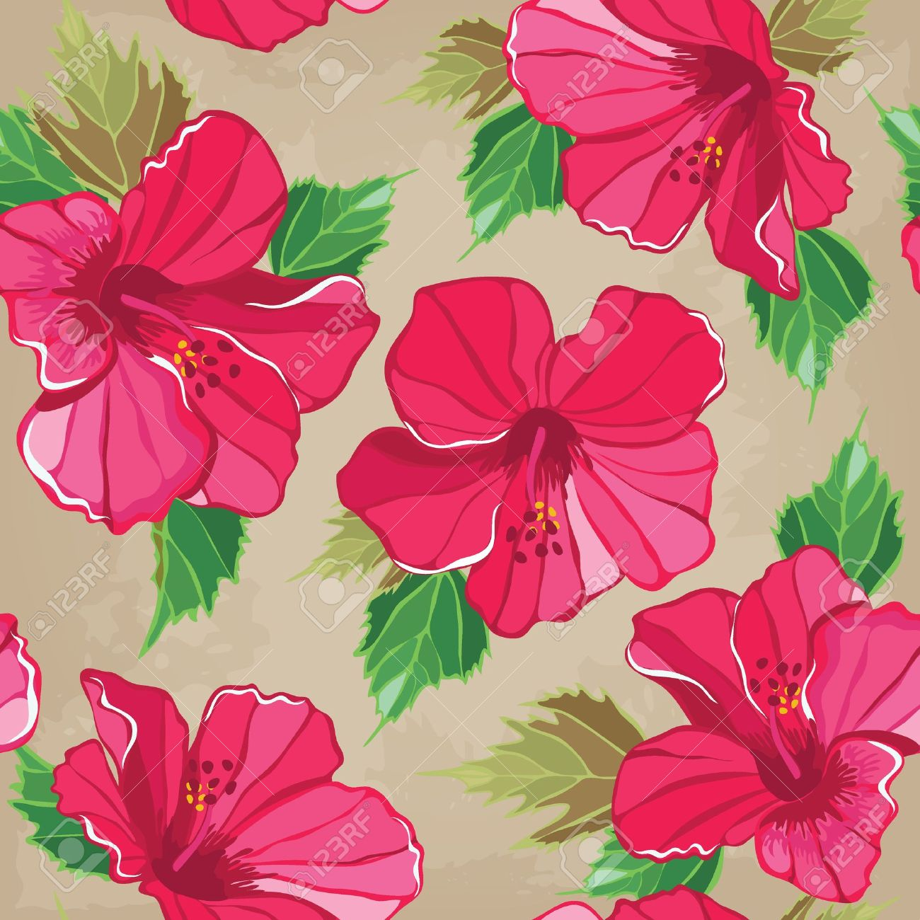 Floral Seamless Pattern With Hibiscus Hand Drawing Vector