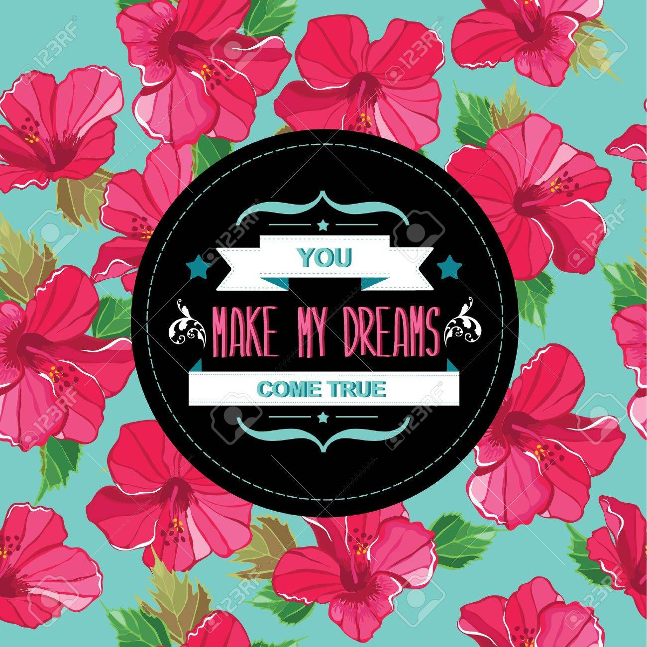 Floral poster Typography illustration Stock Vector - 20196579