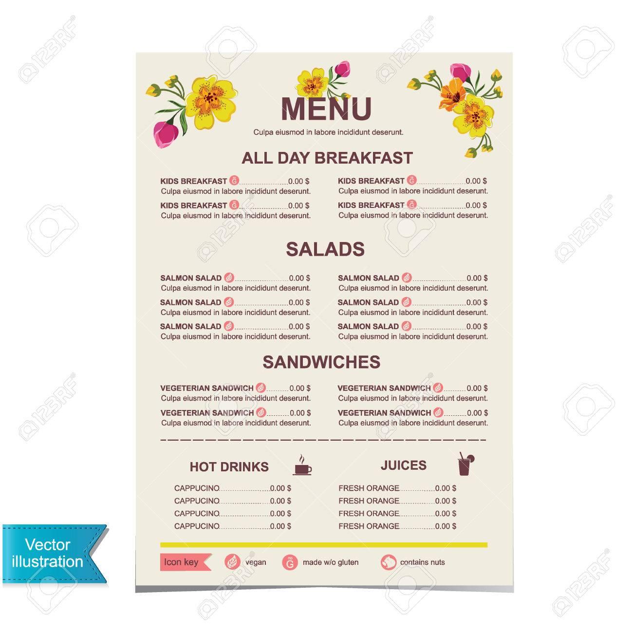 Cafe Menu Template Design Illustration Royalty Free Cliparts – Cafe Menu Template