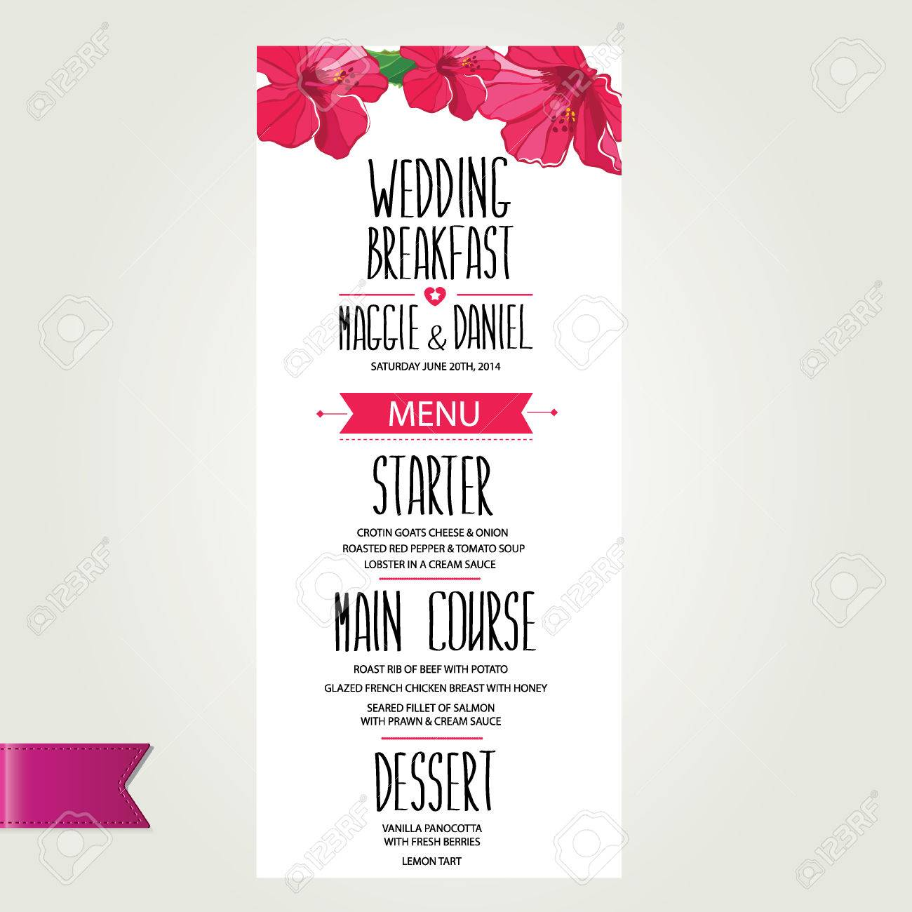 Sample Spa Menu Template Resume Template 22628117 Wedding Menu Template  Design Vector Illustration Stock Vector Sample