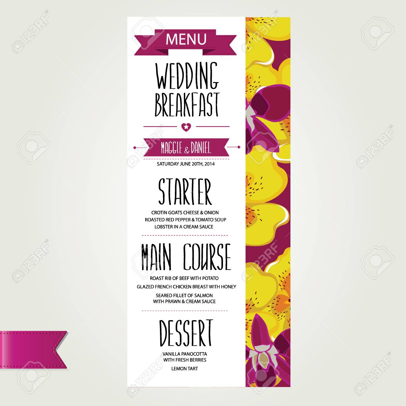 Wedding Menu Template Designctor Illustration Royalty Free