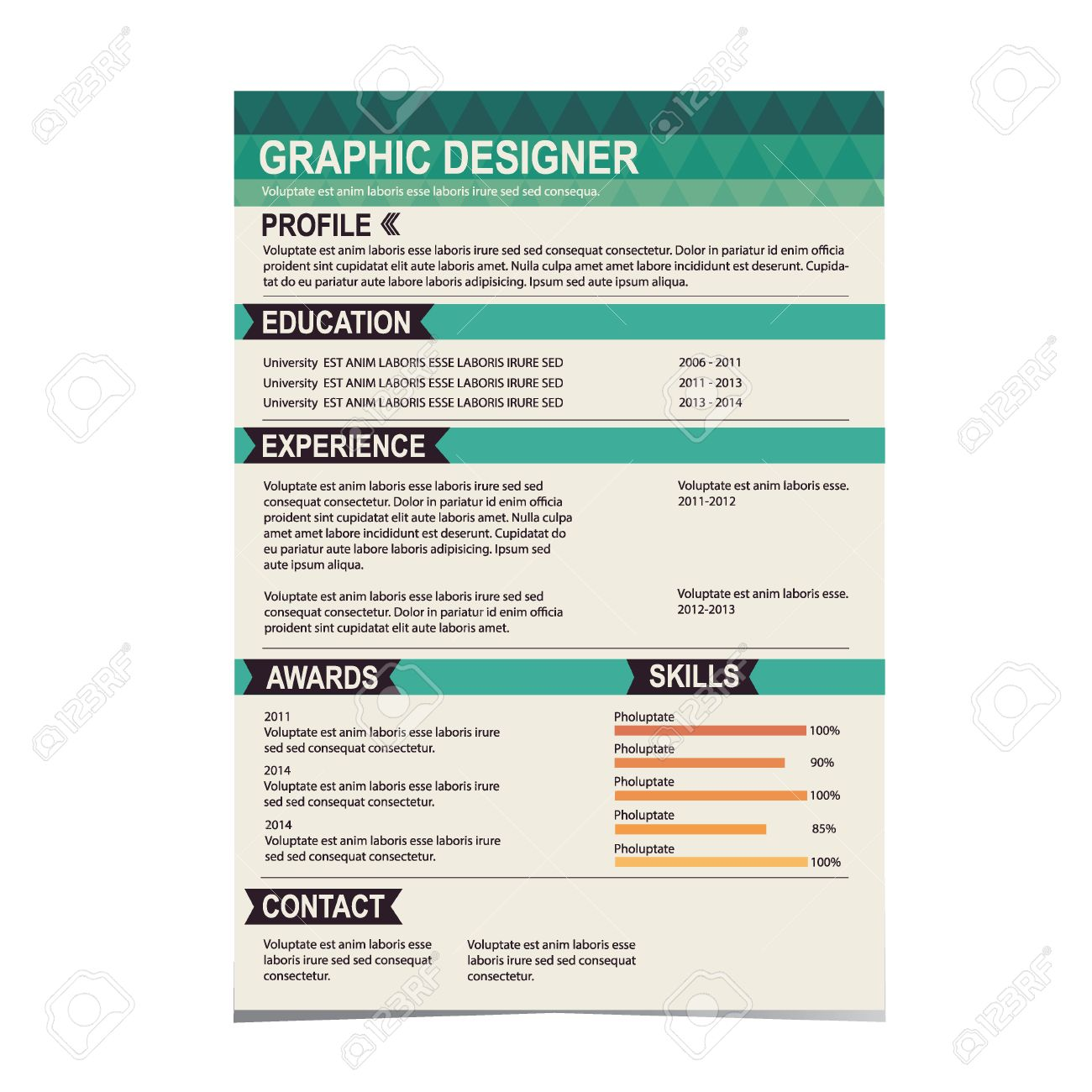 Resume template cv creative background vector illustration royalty resume template cv creative background vector illustration stock vector 26506351 yelopaper Images