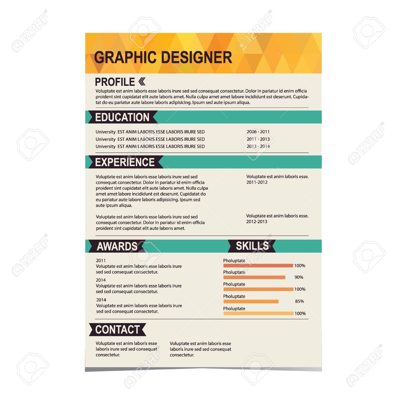 Resume Template Cv Creative Background Vector Illustration Royalty