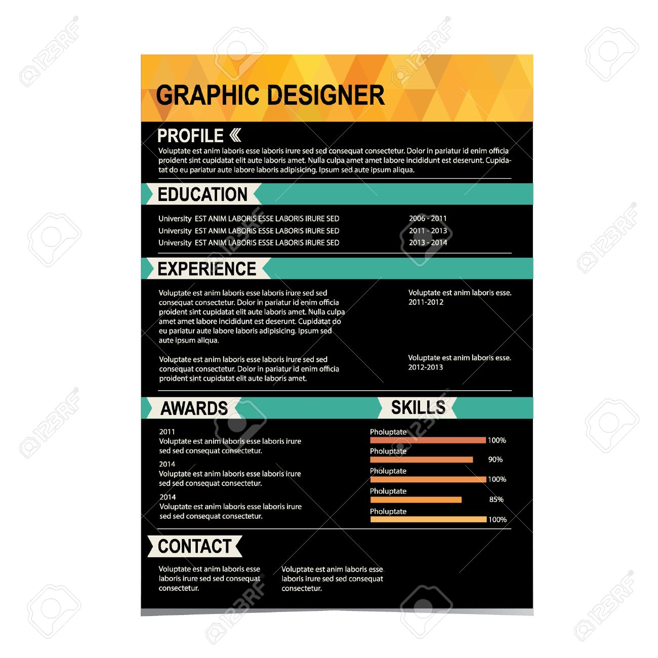 Resume Template Cv Creative Background Vector Illustration