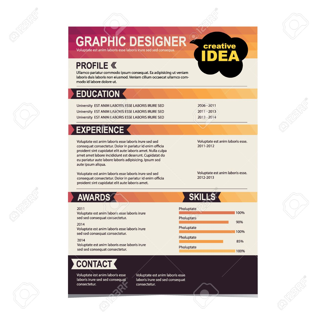 resume template cv creative background vector illustration resume template cv creative background vector illustration stock vector 26807834