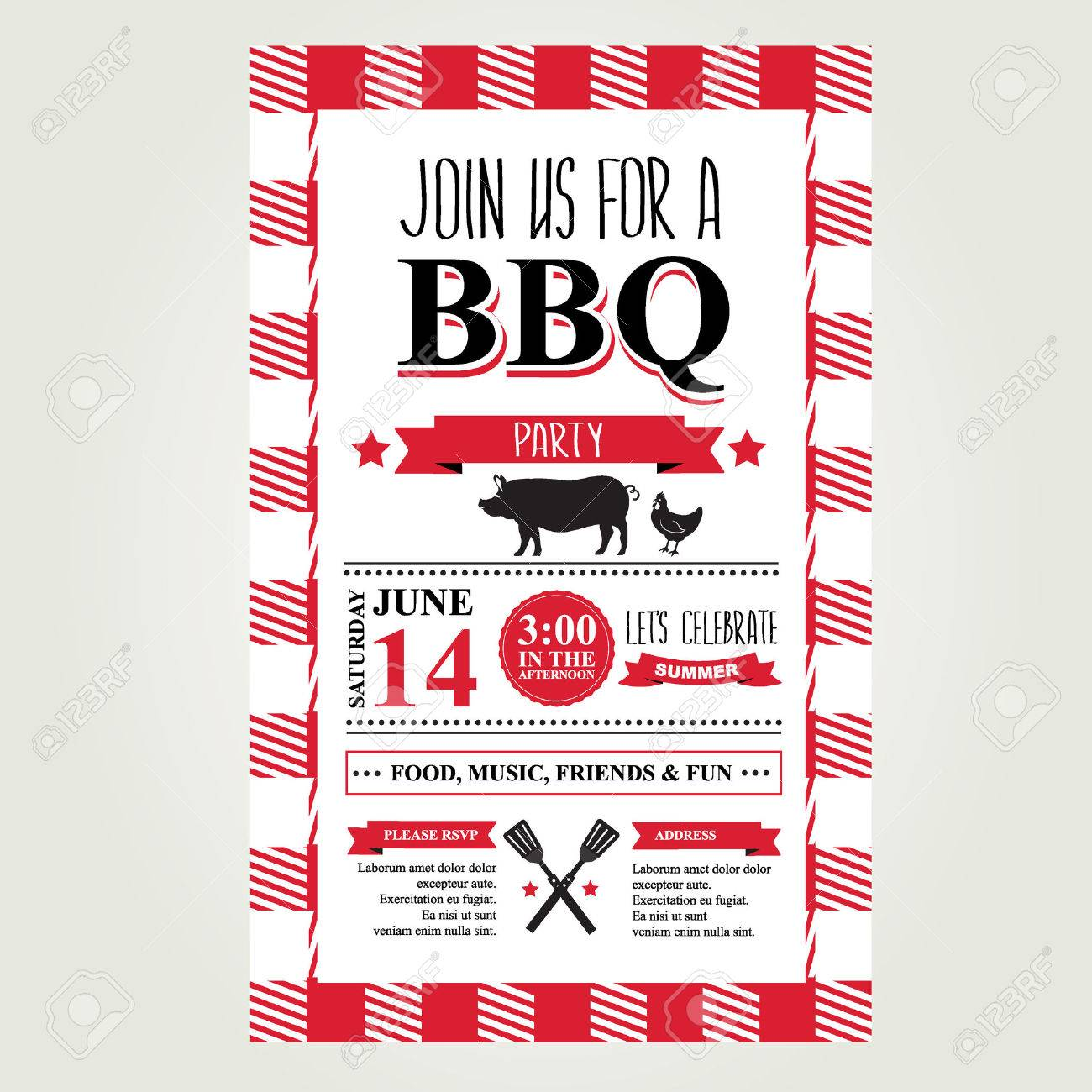 Barbecue Party Invitation. Bbq Brochure Menu Design. Royalty Free ...