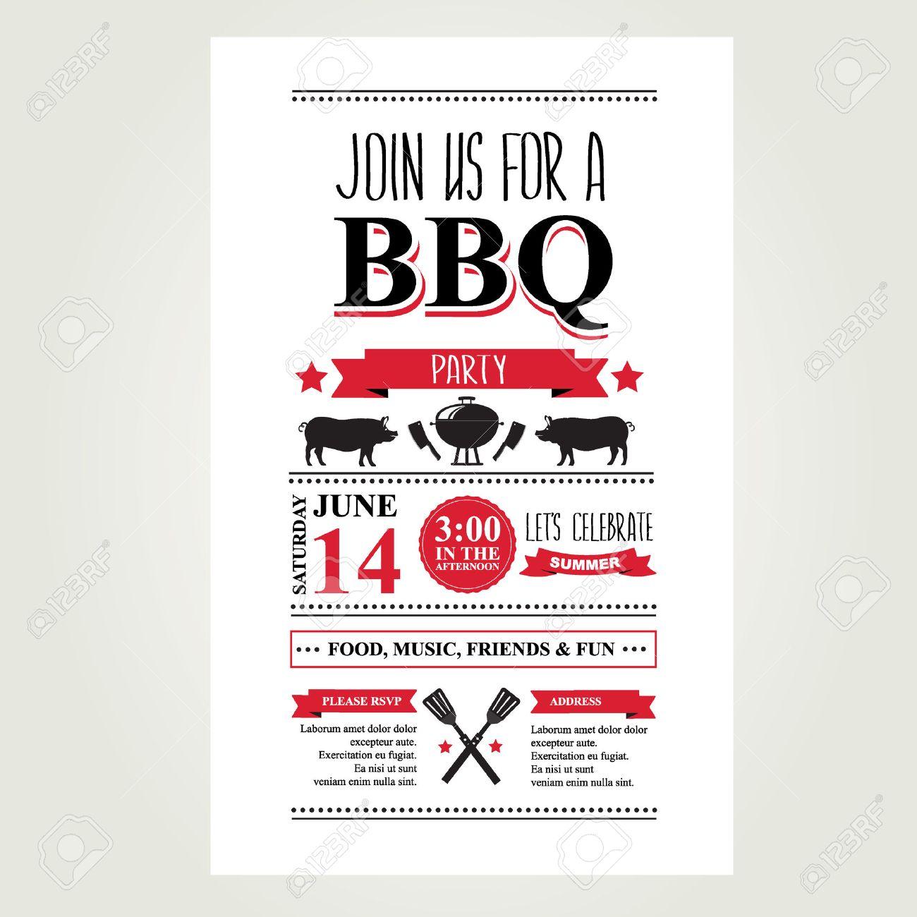 grill-party einladung bbq broschüre menü-design lizenzfrei, Einladung