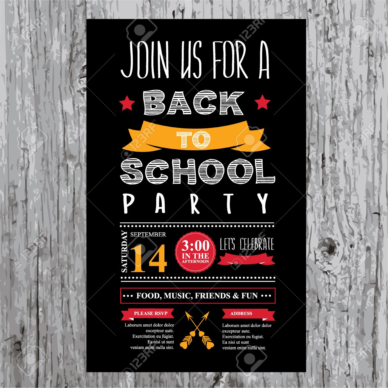 Back to school party invitation design template vector image.