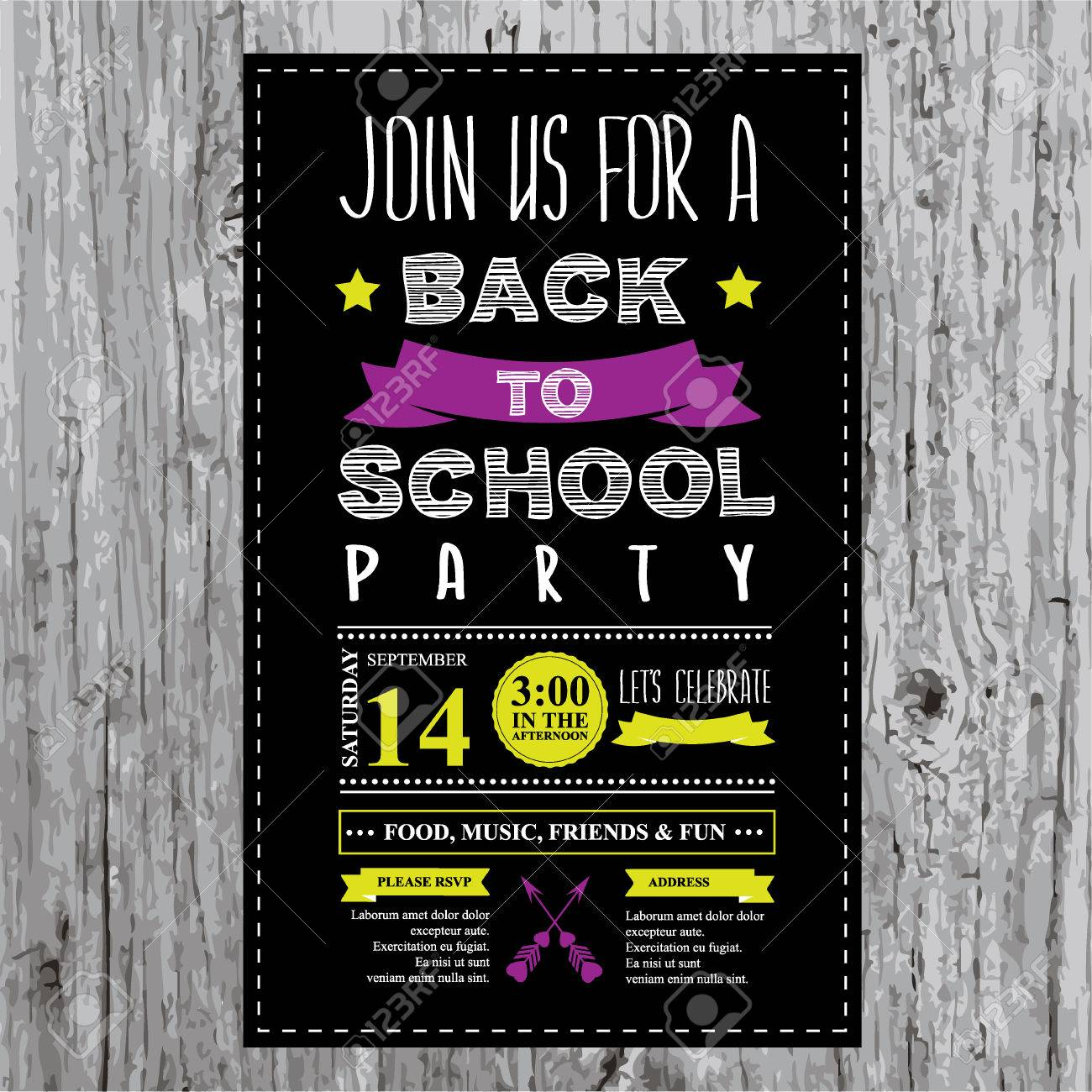 Back to school party invitation design template royalty free.