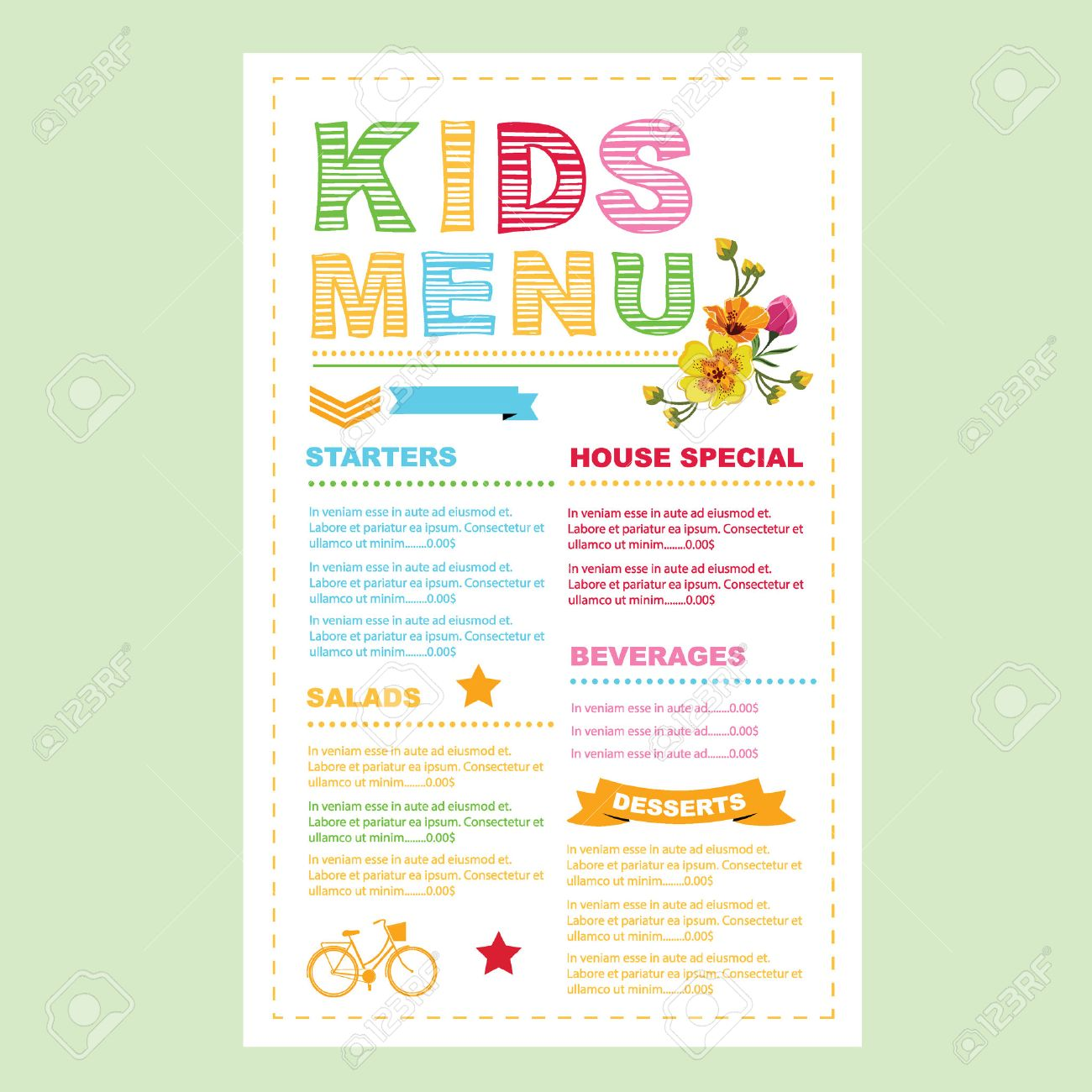 kids menu template royalty free cliparts vectors and stock