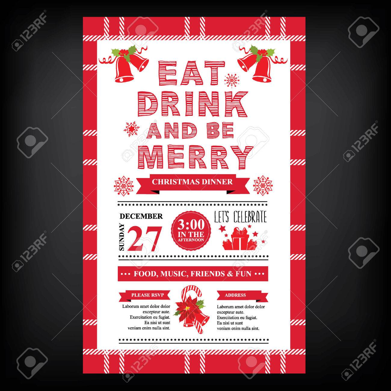 Christmas Restaurant And Party Menu, Invitation. Royalty Free ...