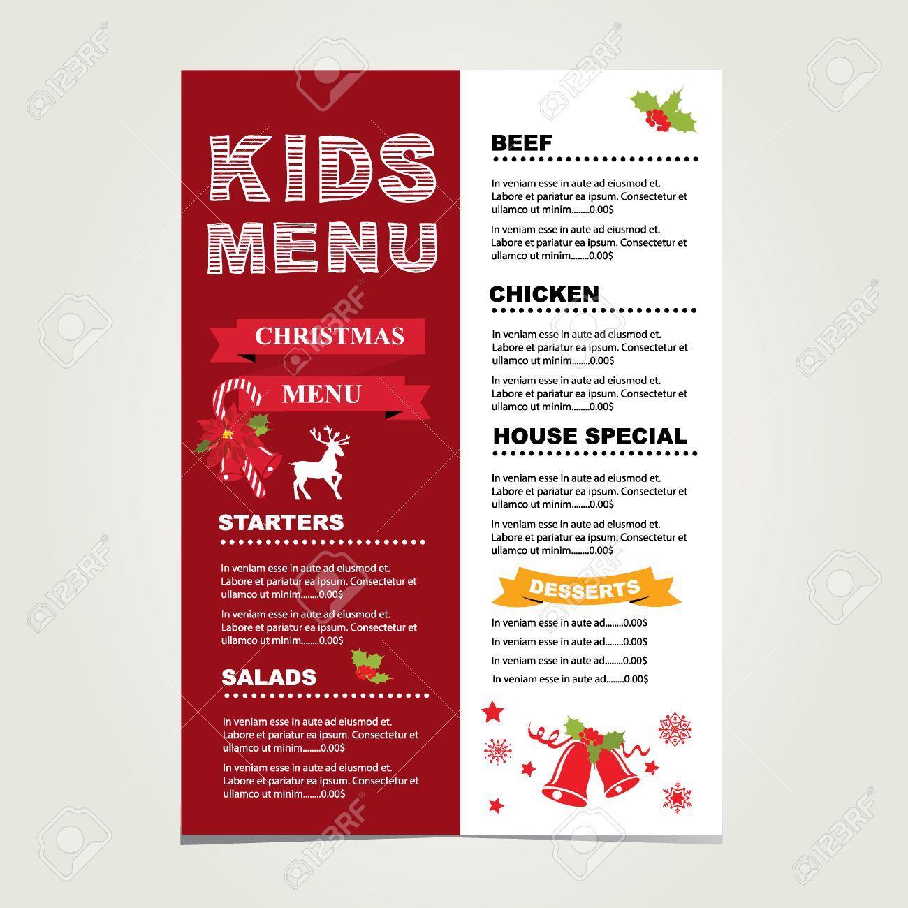Design Templates Menu Sample Christmas Menu Please Accept This 33308981 Kids  Menu Christmas Vector Template Stock
