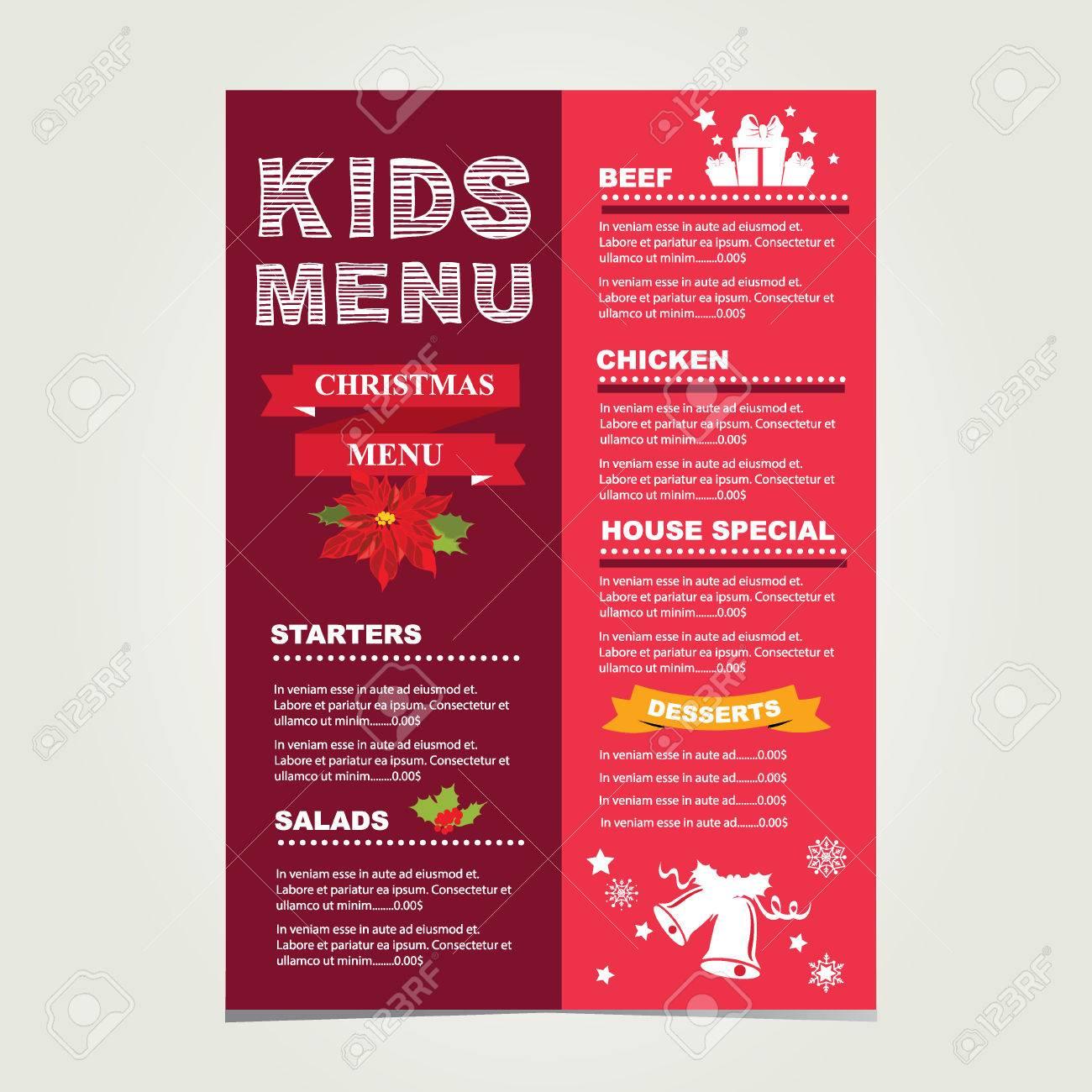 Kids Menu Christmas Template Royalty Free Cliparts Vectors And