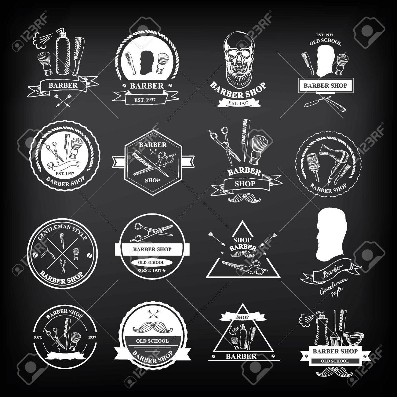 Barber shop labels,vector icons. - 34057971