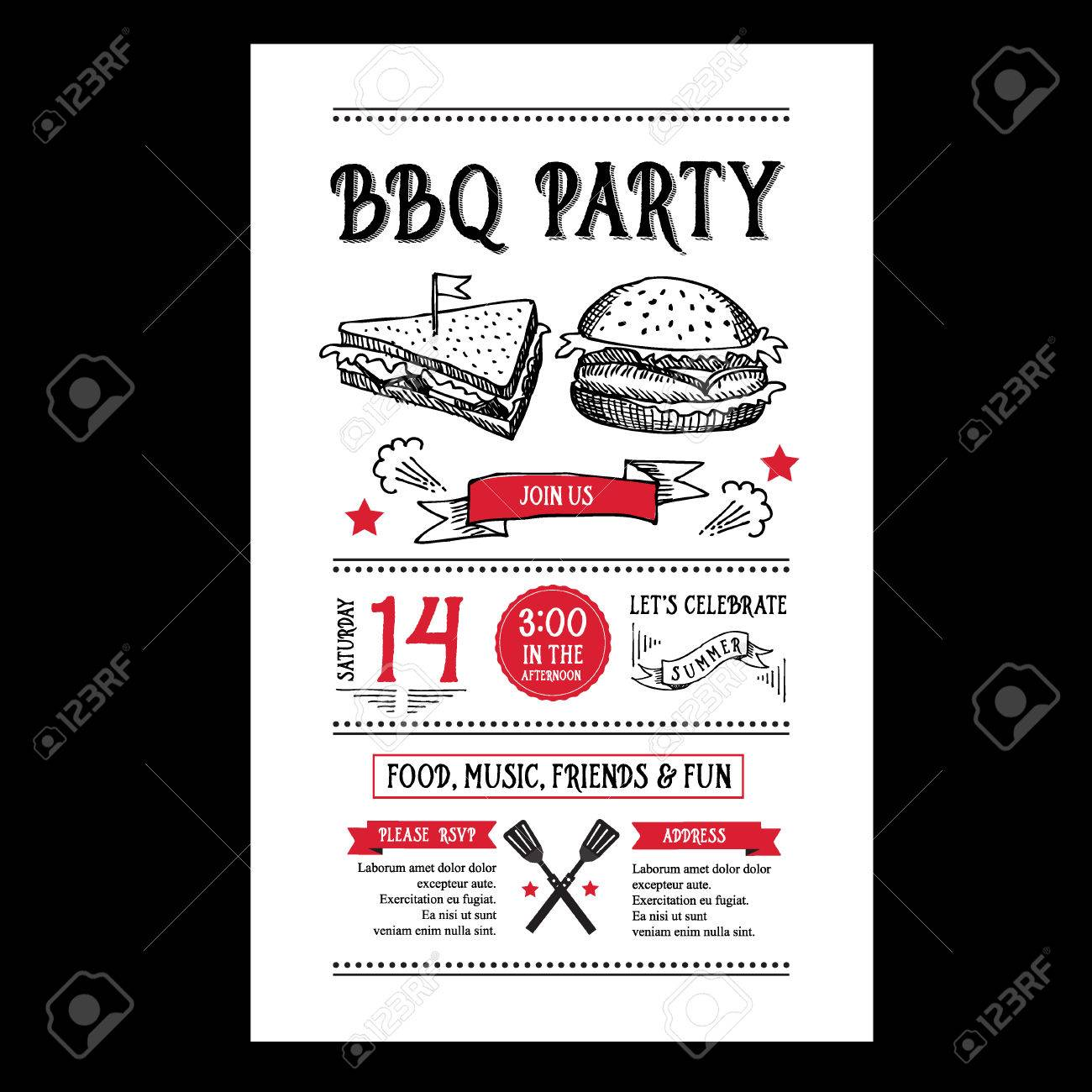 Cookout border clipart hot dog cookout invite stock vector art - Cookout Flyer Barbecue Party Invitation Bbq Brochure Menu Design