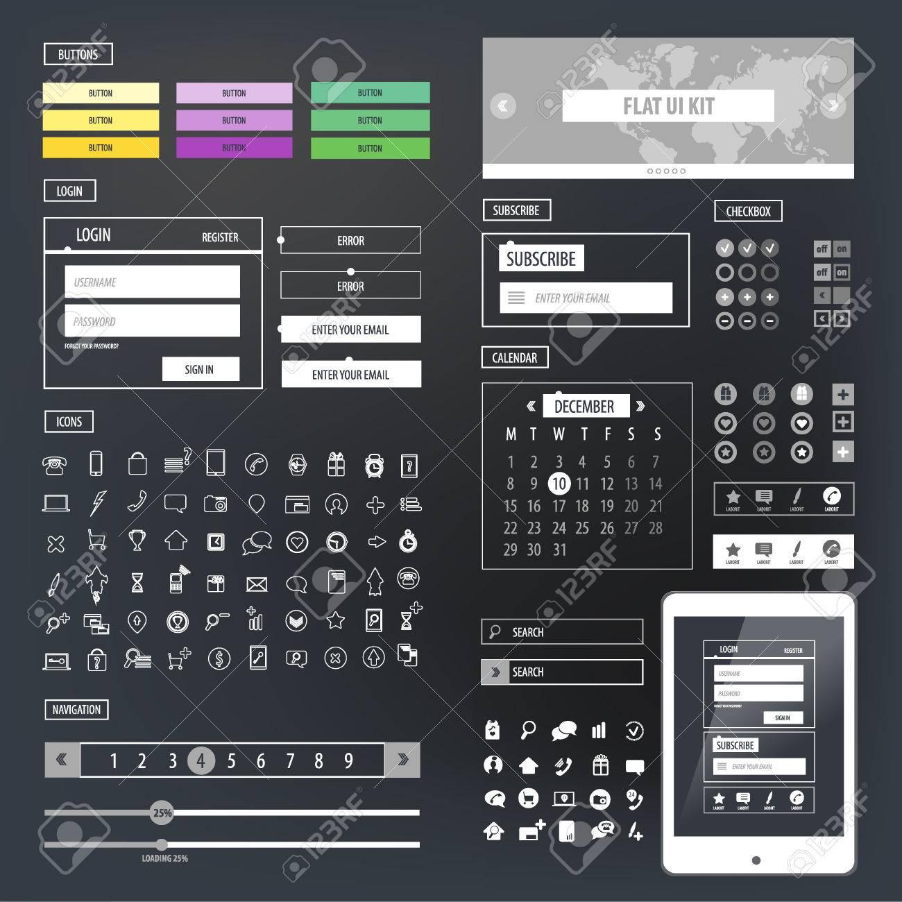 Ui Kit Responsive Web Design Icons Template Mockup Royalty Free