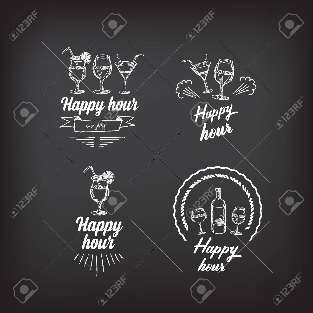 happy hour party invitation cocktail chalkboard banner royalty happy hour party invitation cocktail chalkboard banner stock vector 38014128