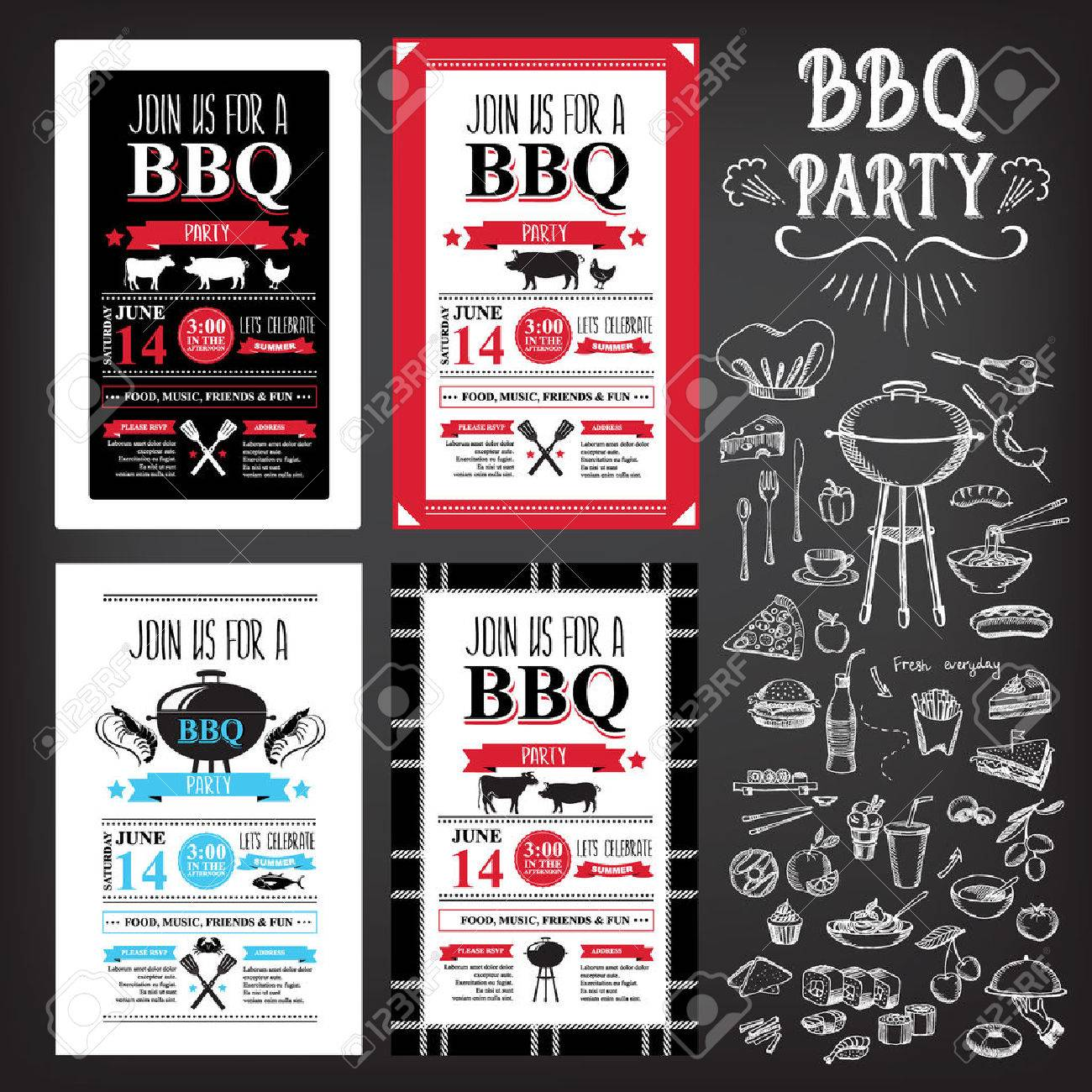Barbecue Party Invitation. BBQ Template Menu Design Royalty Free ...