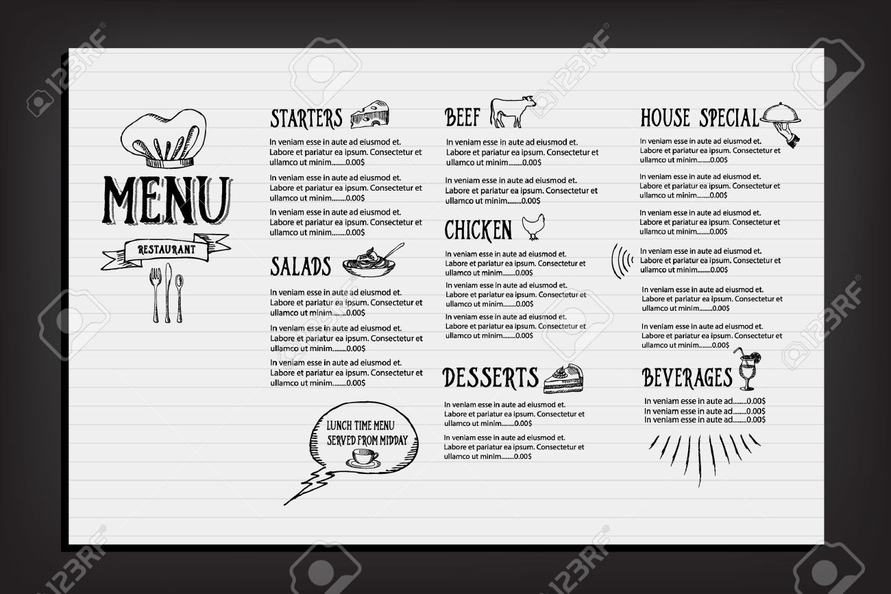Restaurant Cafe Menu Template Design Royalty Free Cliparts – Menu Template