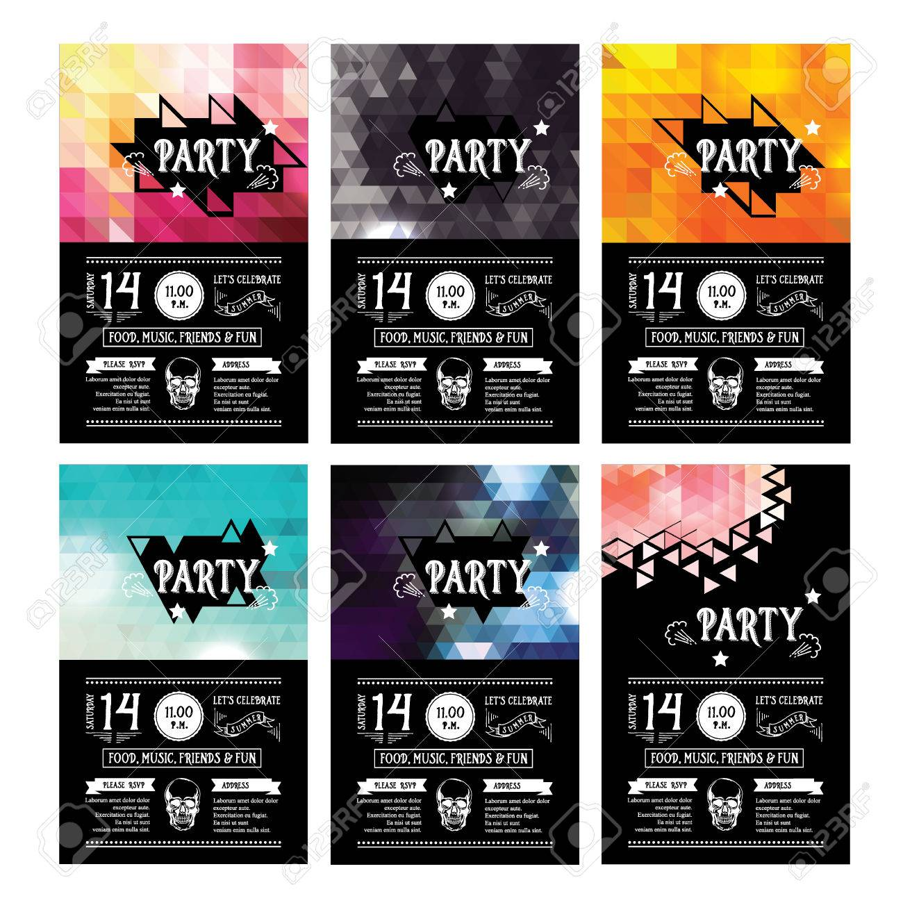 Invitation Party Flyer Typography Design Set Royalty Free – Party Invitation Flyer