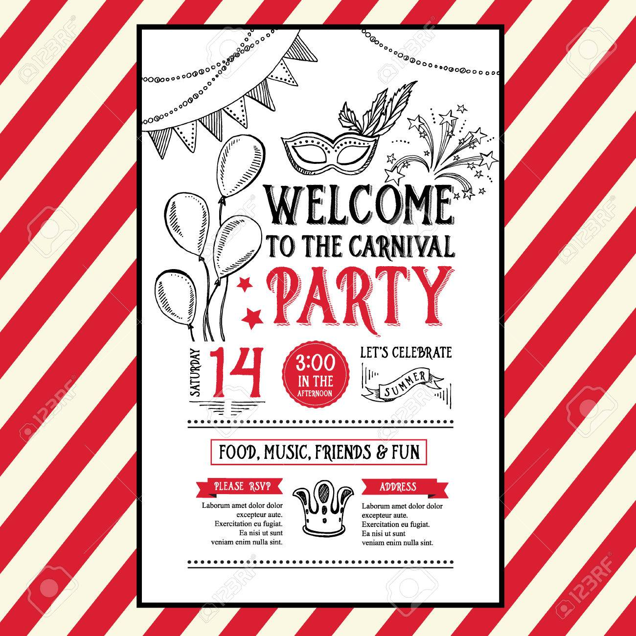 einladung karneval-party-flyer. typografie und gestaltung, Einladungen